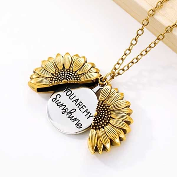 """You Are My Sunshine"" Secret Sunflower Necklace - Blown Biker - 3"