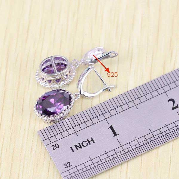 925 Sterling Silver Purple Amethyst Jewelry Set - Blown Biker - 4