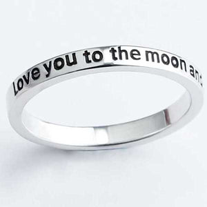 "925 Sterling Silver ""I Love You To The Moon And Back"" Ring - Blown Biker - 4"