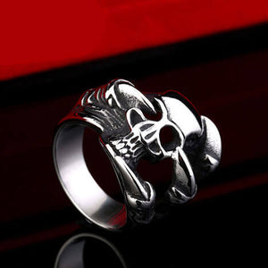 "316L Stainless Steel ""Twisted Skull"" Ring"