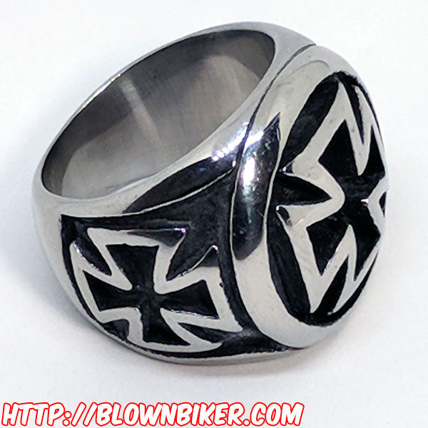 "316L Stainless Steel ""Iron Cross"" Ring - Blown Biker - 5"