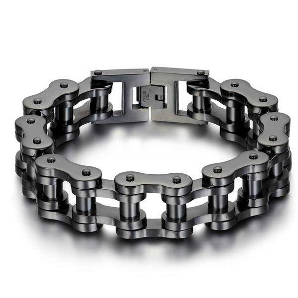 "316L Stainless Steel ""Big Black"" Bracelet - Blown Biker - 1"
