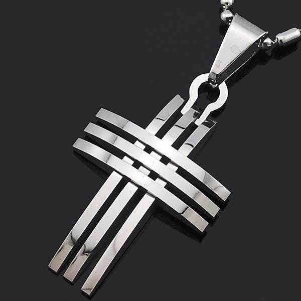 "316L Stainless Steel ""Silver And Gold"" Cross Necklace - Blown Biker - 3"