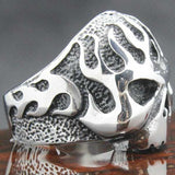 "316L Stainless Steel Biker ""Flame Skull"" Ring - Blown Biker - 6"