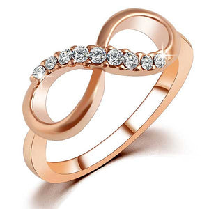 "Rose Gold Plated ""Infinity Crystals"" Ring - Blown Biker - 1"