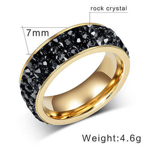 "18K Gold Plated ""Rock Crystal"" Ring - Blown Biker - 5"