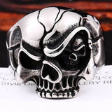 "316L Stainless Steel ""Evil Eye Skull"" Ring - Blown Biker - 3"