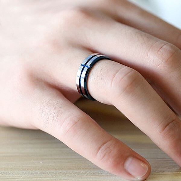 "6mm Tungsten ""Blue Cross"" Ring"