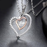"925 Sterling Silver ""Double Heart"" Pendant Necklace - Blown Biker - 3"