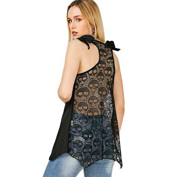 "Lace Skull Backed ""Skull & Flowers"" Vest Top - Blown Biker - 4"