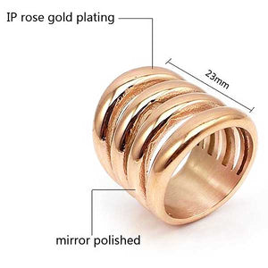 "Rose Gold ""Wide Biker"" Womens Ring - Blown Biker - 2"