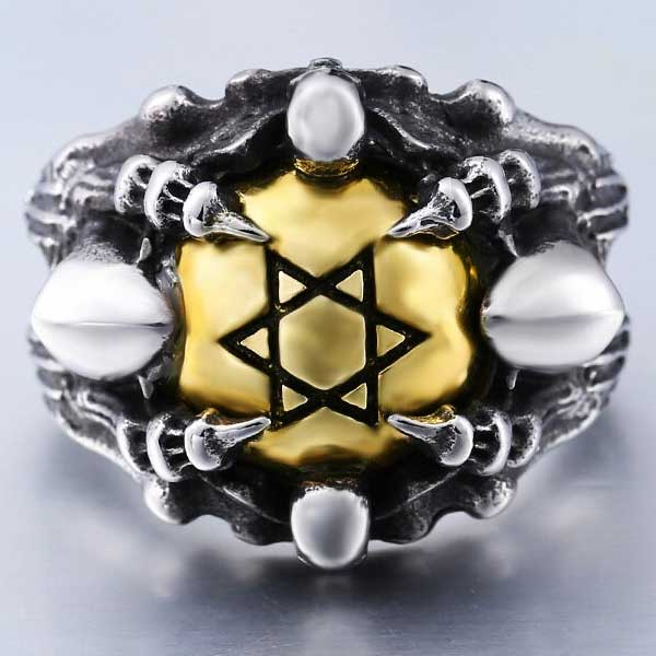 "316L Stainless Steel ""Copper Hexagram"" Ring - Blown Biker - 3"