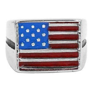 "316L Stainless Steel ""American Flag"" Ring - Blown Biker - 3"