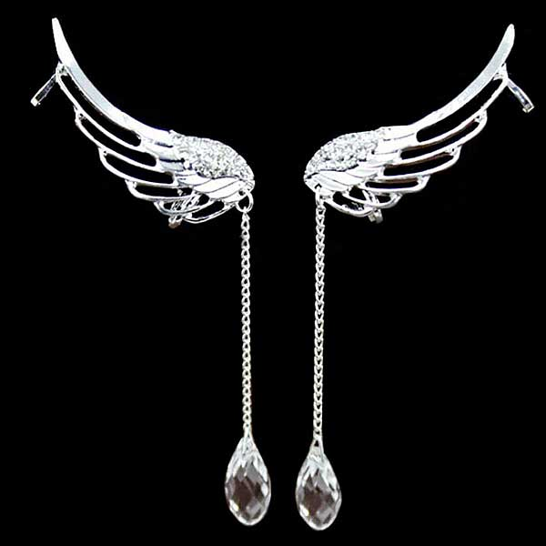 """Water Droplet"" Angel Wings Earrings - Blown Biker - 3"
