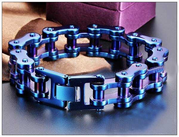"316L Stainless Steel ""Blue & Purple"" Bracelet - Blown Biker - 3"