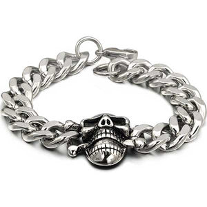 "316L Stainless Steel ""Biker Skull"" Chain Bracelet - Blown Biker - 3"