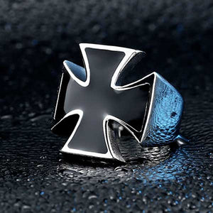 316L Stainless Steel Iron Cross Ring