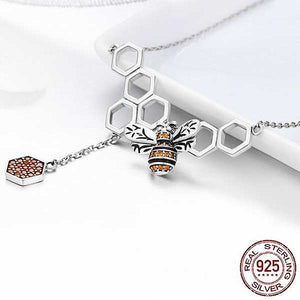 "925 Sterling Silver ""Honeycomb"" Pendant Necklace - Blown Biker - 3"