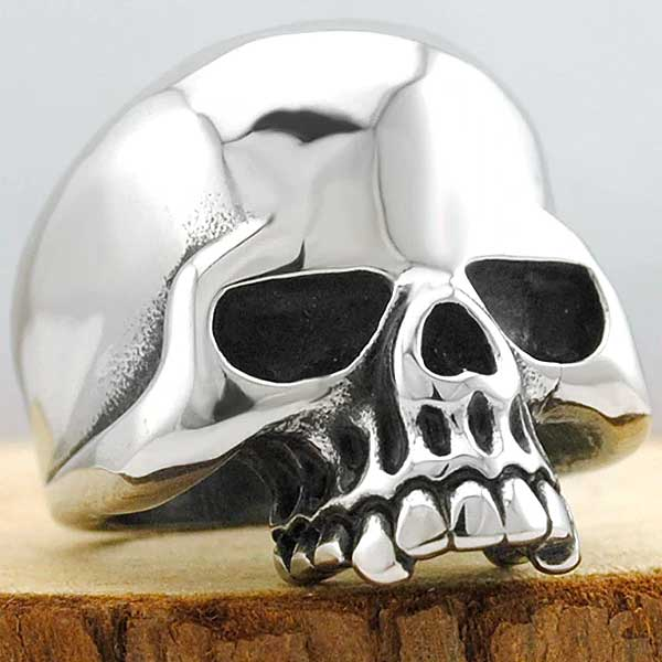 "316L Stainless Steel ""Polished Skull"" Ring - Blown Biker - 2"