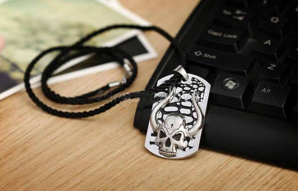 "316L Stainless Steel ""Horned Skull"" Pendant Necklace"