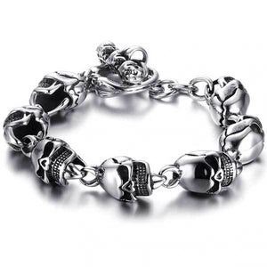 "316L Stainless Steel ""Punk Skull"" Bracelet - Blown Biker - 2"