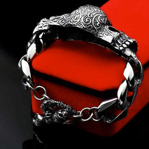 "316L Stainless Steel ""Red Eyed Skull"" Bracelet - Blown Biker - 4"