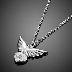 "925 Sterling Silver ""Zirconia Charm"" Angel Wings Necklace - Blown Biker - 4"