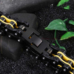 "316L Stainless Steel ""Black & Yellow"" Bracelet - Blown Biker - 3"
