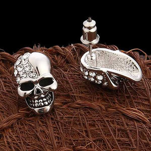 """Rhinestone Skull"" Earrings - Blown Biker - 5"