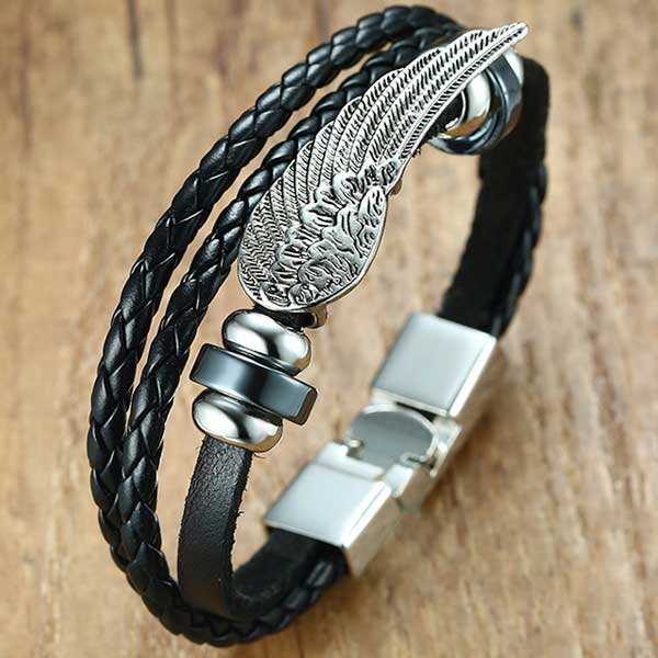 "Leather ""Angel Wings"" Mens Bracelet - Biker - 1"