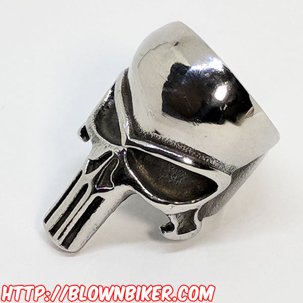 "316L Stainless Steel ""The Punisher"" Ring - Blown Biker - 7"