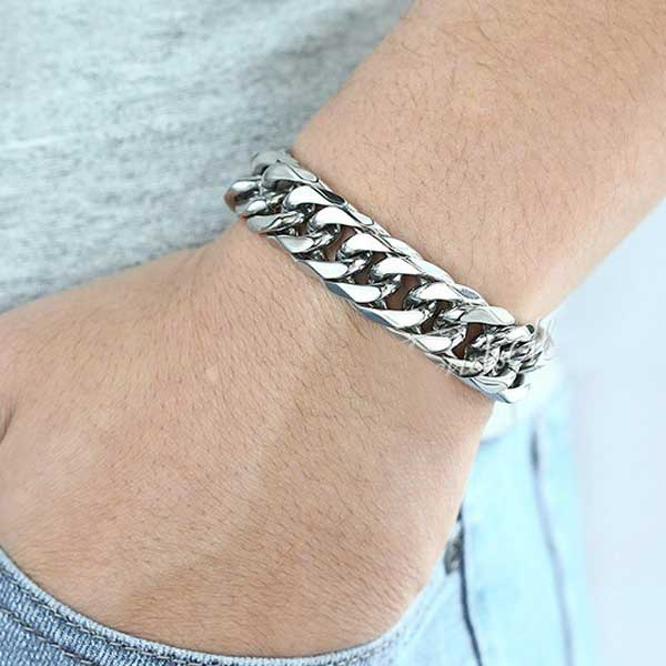 "316L Stainless Steel ""Silver Cuban"" Bracelet - Blown Biker - 2"