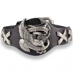 "Genuine Leather ""Live To Ride"" Bracelet - Blown Biker - 1"