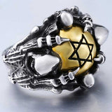 "316L Stainless Steel ""Copper Hexagram"" Ring - Blown Biker - 4"