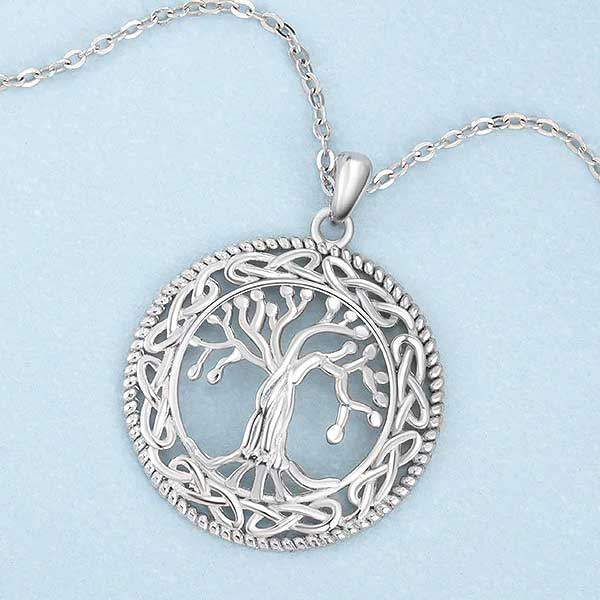 "925 Sterling Silver ""Family Tree"" Pendant Necklace - Blown Biker - 3"