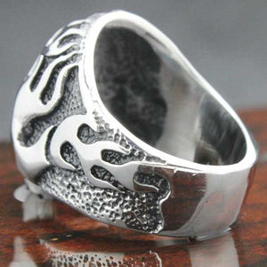 "316L Stainless Steel Biker ""Flame Skull"" Ring - Blown Biker - 7"