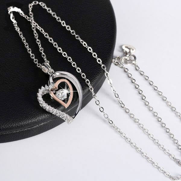 "925 Sterling Silver ""Double Heart"" Pendant Necklace - Blown Biker - 4"