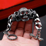 "316L Stainless Steel ""Red Eyed Skull"" Bracelet - Blown Biker - 1"
