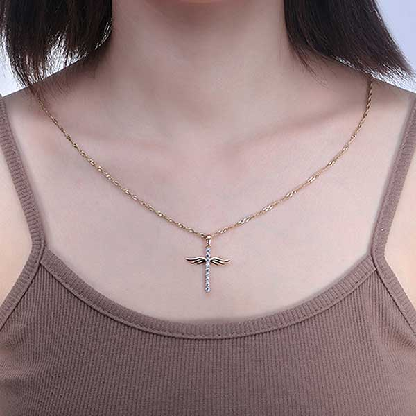 "18k Gold Plated ""Angel Wings"" Cross Pendant Necklace - Blown Biker - 5"