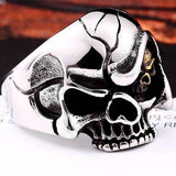 "316L Stainless Steel ""Evil Eye Skull"" Ring - Blown Biker - 4"