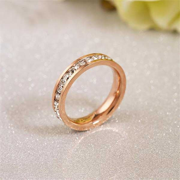 925 Sterling Silver / Rose Gold Cubic Zirconia Ring