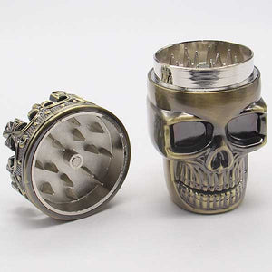 """Crowned Skull"" Herb Grinder - Blown Biker - 7"