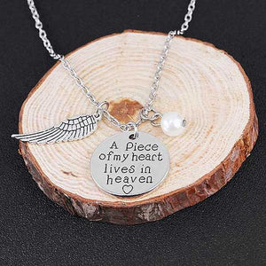 """A Piece Of My Heart Lives In Heaven"" Angel Wings Necklace - Blown Biker - 5"