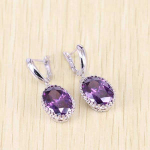 925 Sterling Silver Purple Amethyst Jewelry Set - Blown Biker - 3