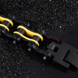 "316L Stainless Steel ""Black & Yellow"" Bracelet - Blown Biker - 4"