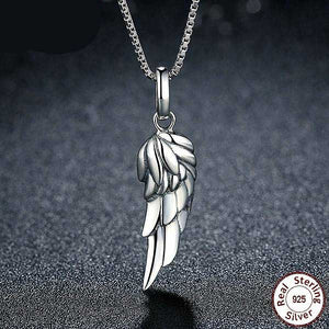 "925 Sterling Silver ""Angel Wing"" Pendant Necklace - Blown Biker - 1"