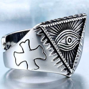 "316L Stainless Steel ""All-Seeing Eye"" Ring - Blown Biker - 4"