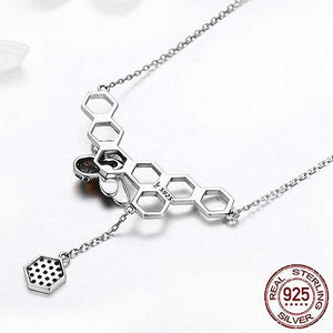 "925 Sterling Silver ""Honeycomb"" Pendant Necklace - Blown Biker - 4"