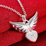 "925 Sterling Silver ""Zirconia Charm"" Angel Wings Necklace - Blown Biker - 2"