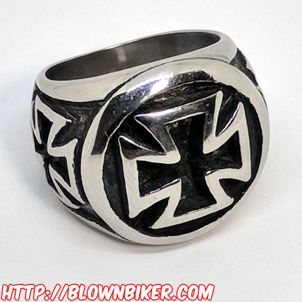 "316L Stainless Steel ""Iron Cross"" Ring - Blown Biker - 4"